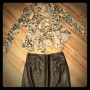 Dresses & Skirts - Blouse and Leather Skirt